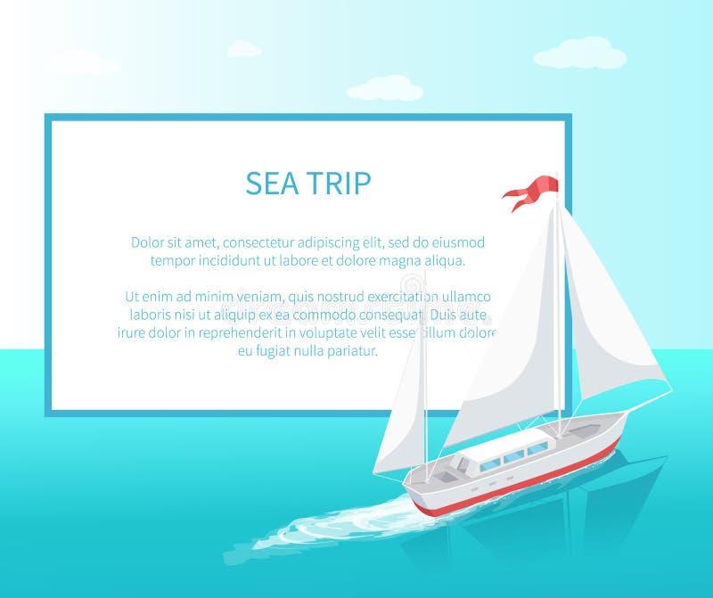 Yacht moderne Marine Ship de cadre d'affiche de voyage de mer illustration de vecteur