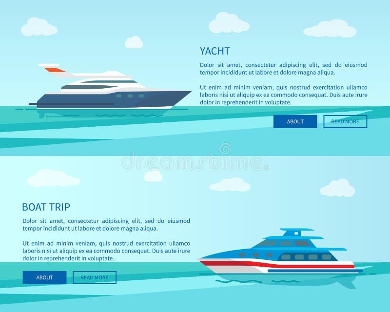 Yacht moderne pour la promotion de voyage de promenade et de bateau de mer illustration de vecteur