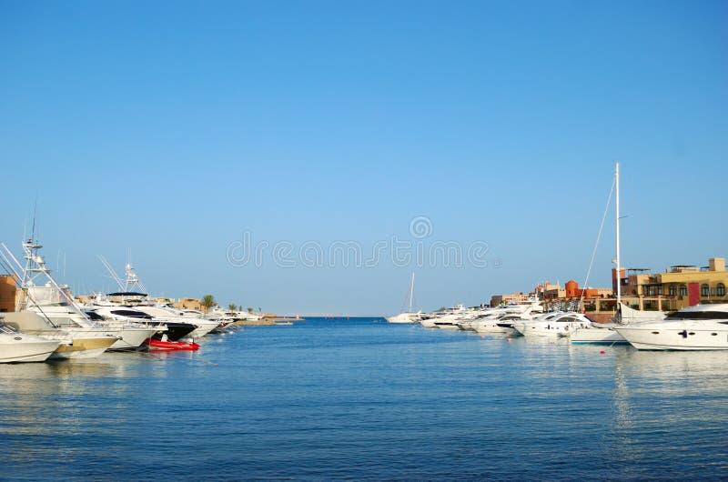 Yacht moorage. In Abu Tig Marina, El-Gouna, Egypt stock photos