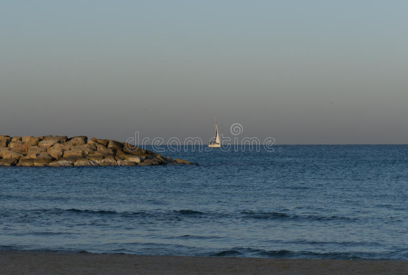 Yacht in the morning in Herzliya. MorningView of Herzliya`s SeeView at 6am stock photo