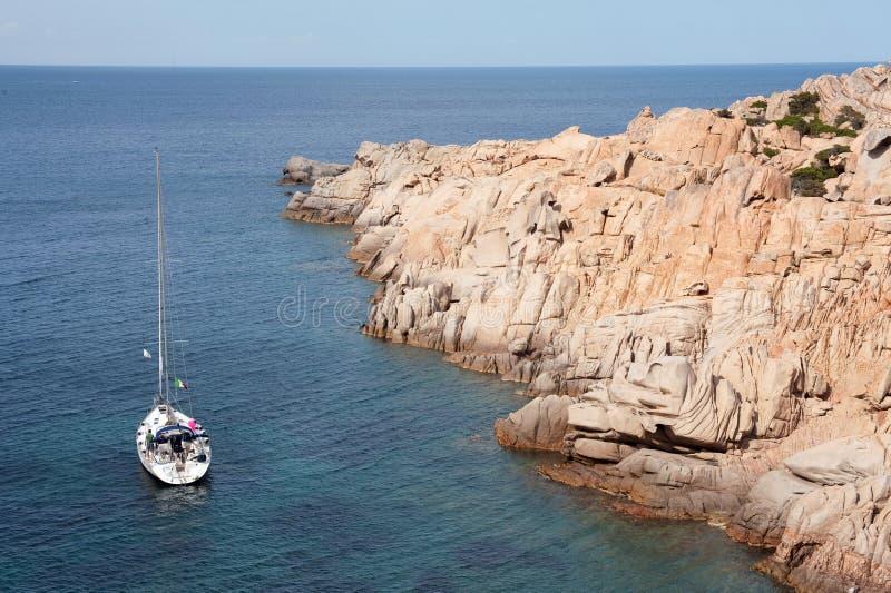 Yacht Near Sardinia Coast Stock Images