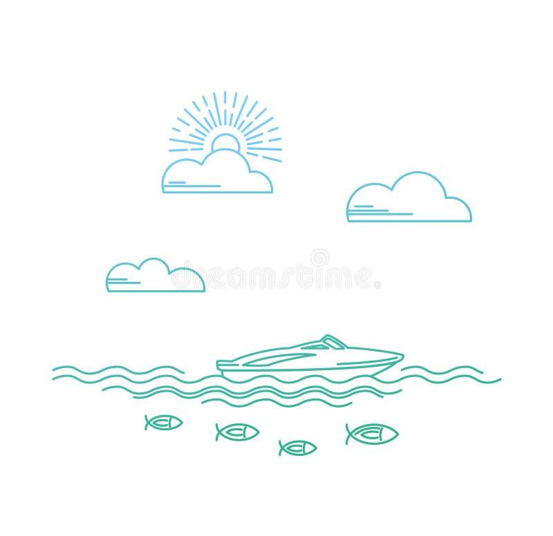 Yacht nel mare illustrazione vettoriale