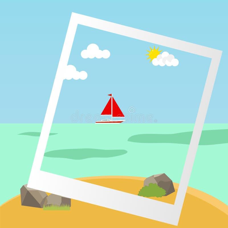 Yacht nel mare vicino alla riva illustrazione vettoriale