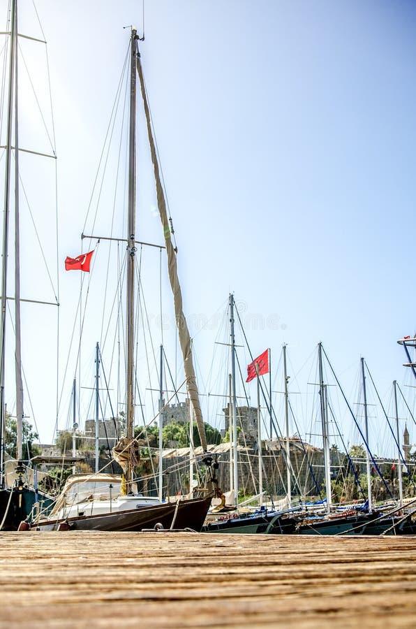 Yacht nella baia di Bodrum, Turchia fotografia stock