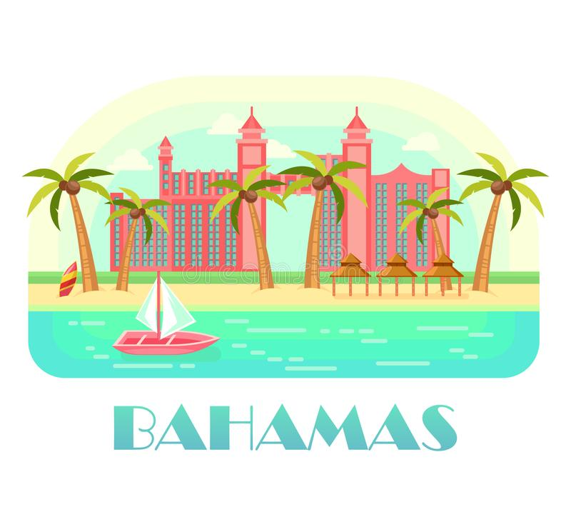 Yacht at ocean and beach of bahamas. Commonwealth of bahama advertising poster with yacht at ocean, palms with coconuts and castle, wooden hut at beach. Seashore stock illustration