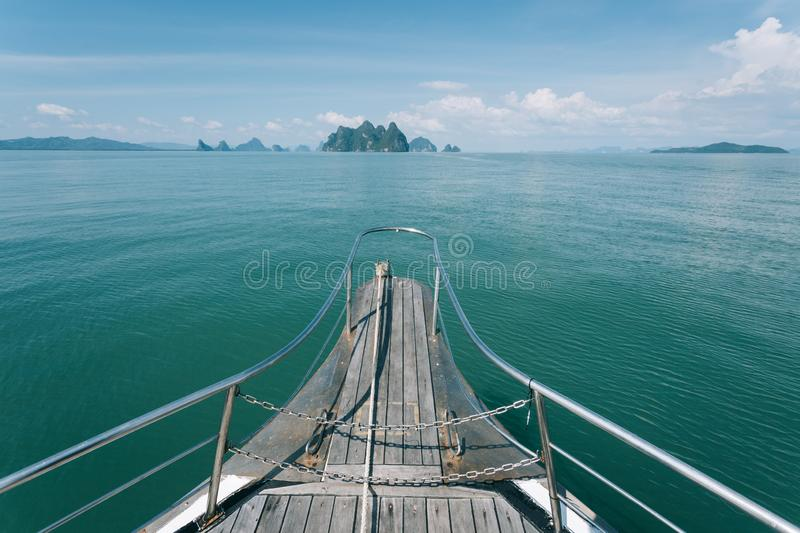 Yacht is one of the most favorite activity in Phang nga bay, Thailand royalty free stock image