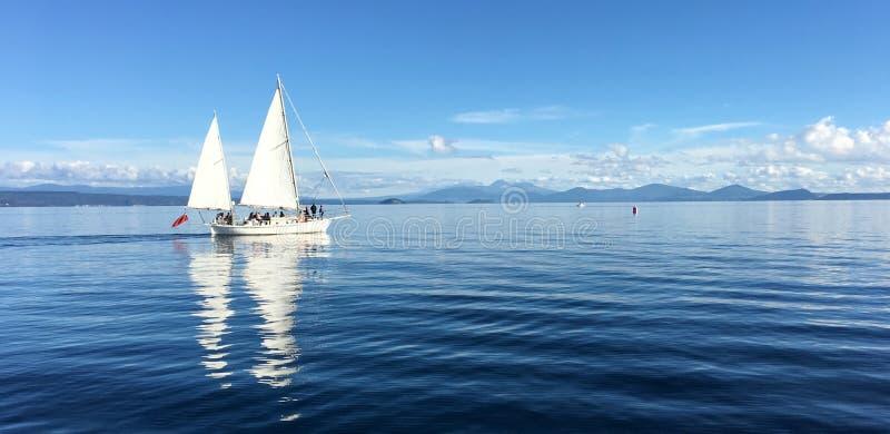 Yacht os barcos de vela que navegam sobre o lago Taupo Nova Zelândia imagem de stock royalty free