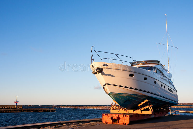 Download Yacht out of the water stock image. Image of sunny, white - 8837143