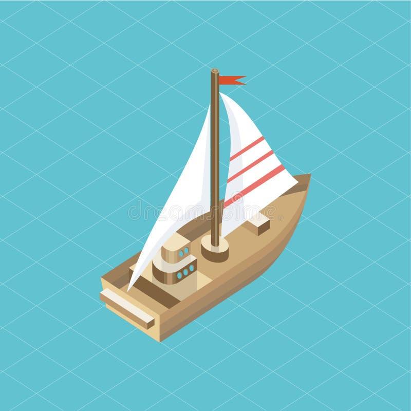 Yacht på hav den isometriska isolerade symbolen stock illustrationer