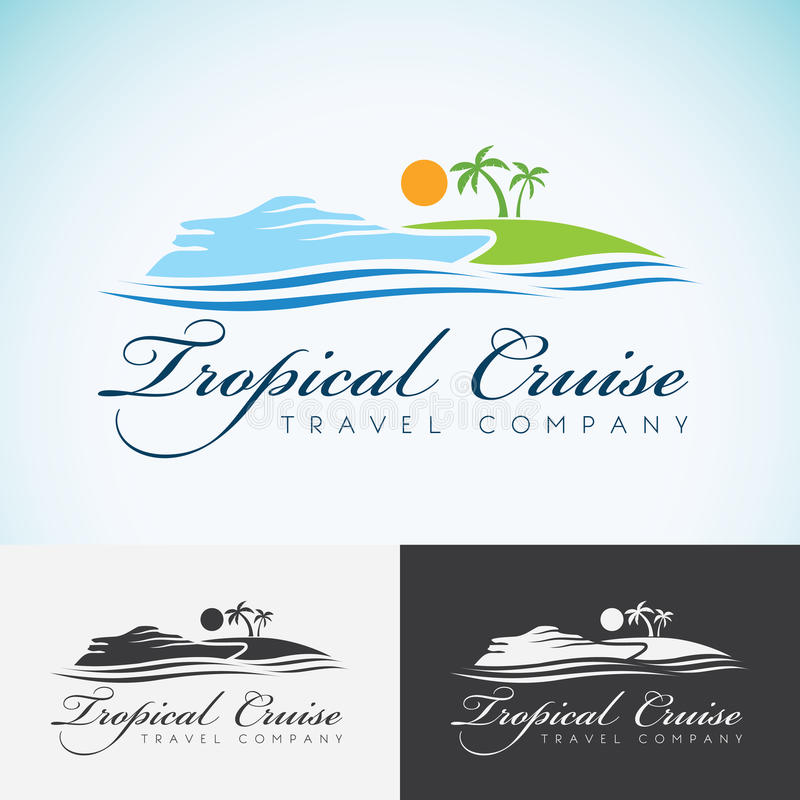Yacht, Palm trees and sun, travel company logo design template. sea cruise, tropical island or vacation logotype icon vector illustration