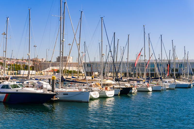 Yacht Parking in Lisbon. Water area of the river Taxo stock photo