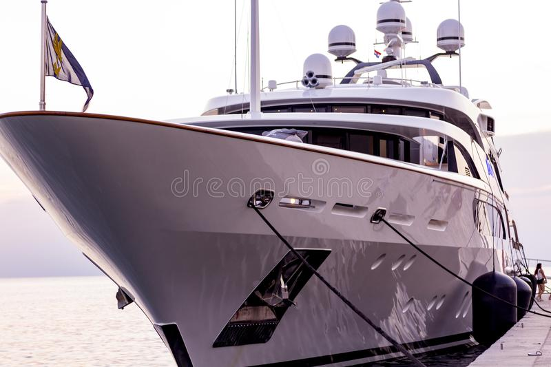 Yacht at the pier stock photography
