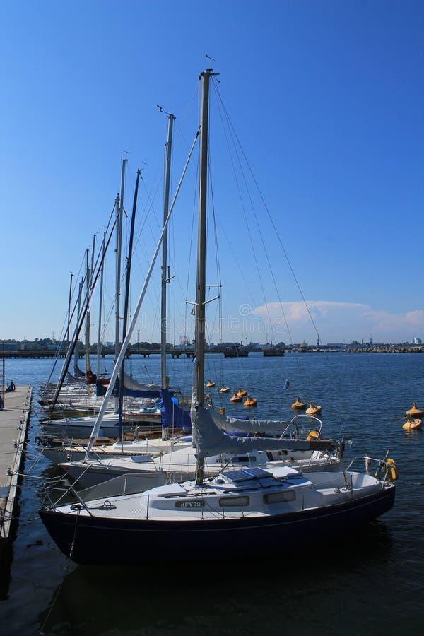 YACHT AT THE PIER. ESTONIA, TALLINN / JULY 24 / 2014 - Yacht at the pier stock photo