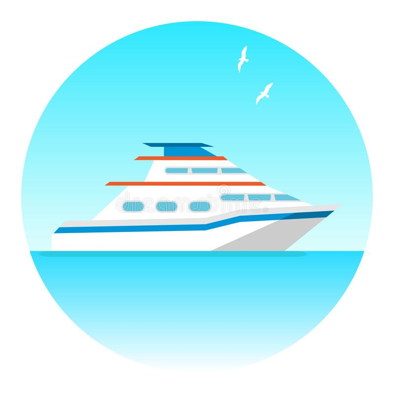 Yacht, pleasure white yacht against the sea and sky with seagulls stock illustration
