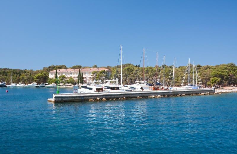 Yacht port. Brijuni. Croatia stock photos