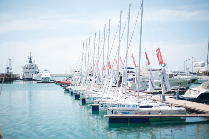 Yacht in the port of Sochi stock photos