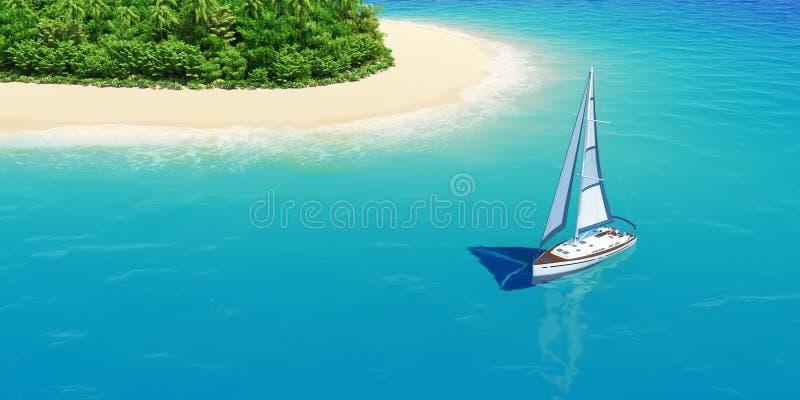 Yacht près de plage tropicale de sable avec des paumes. photo libre de droits