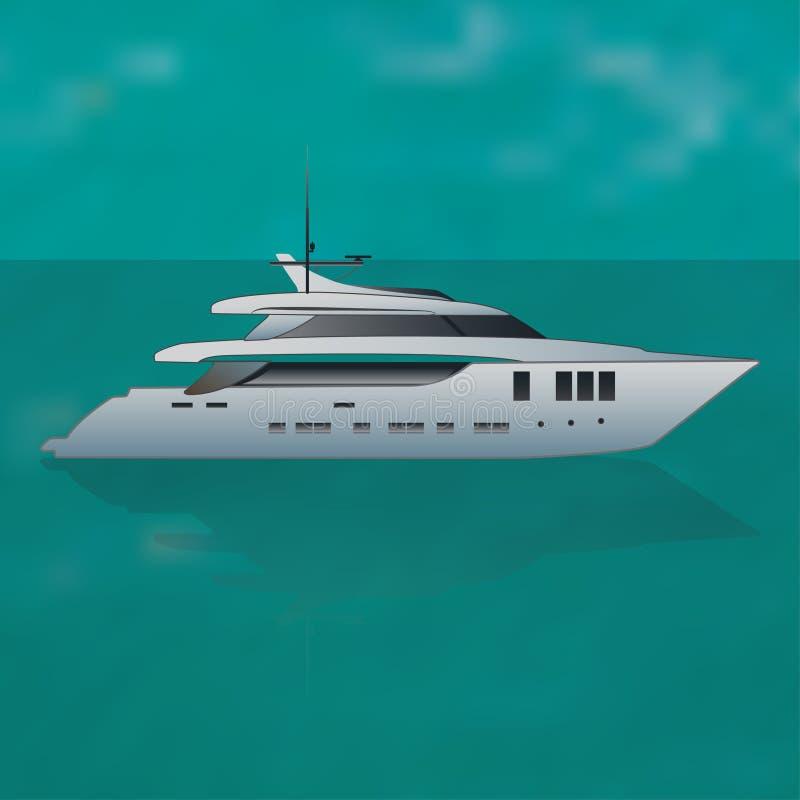 Yacht privé de luxe de moteur en mer illustration de vecteur