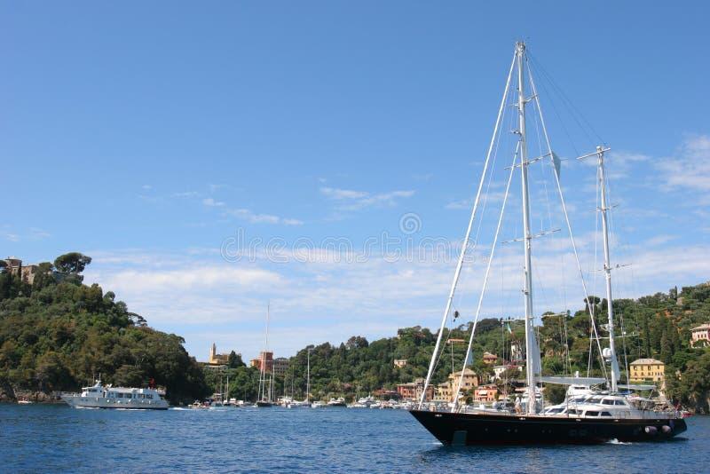 yacht proche de luxe de portofino photo stock