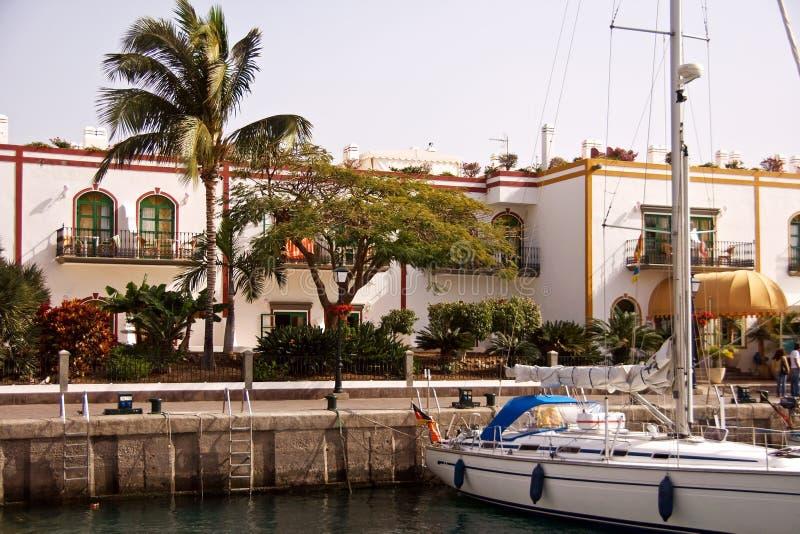 Yacht in Puerto de Mogan royalty free stock images