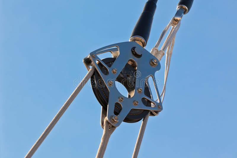 Yacht Pulley Blocks and Ropes stock photo