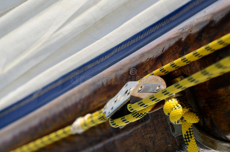 Yacht Pulley Blocks and Ropes, sport eqipment stock image