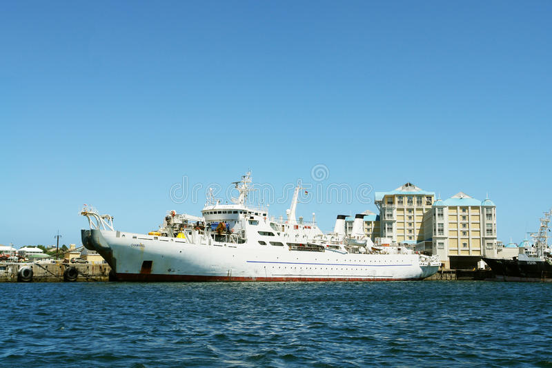 Yacht of R.Abramovich Chamarel stock images