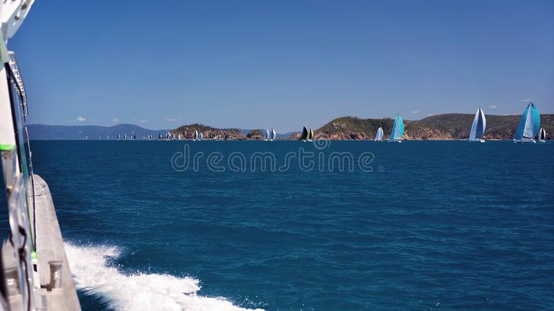 Yacht Racing Around The Whitsunday Islands Great Barrier Reef Australia stock images