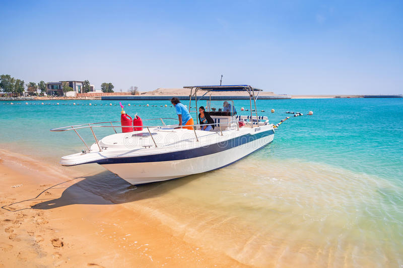 Yacht for rent on the beach in Abu Dhabi stock images