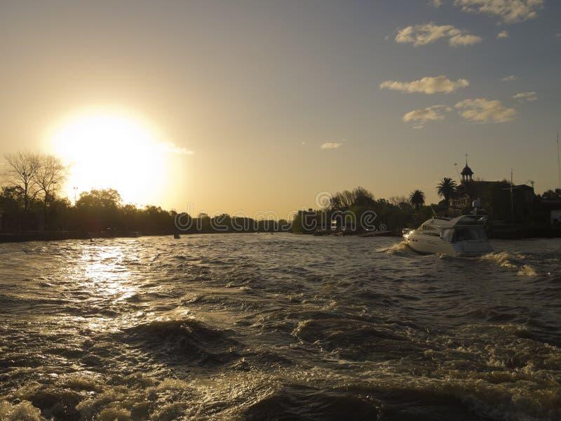 Yacht on Rio de la Plata. Yacht on El Tigre delta, El Rio de la Plata. El Tigre Delta. Argentina stock photo