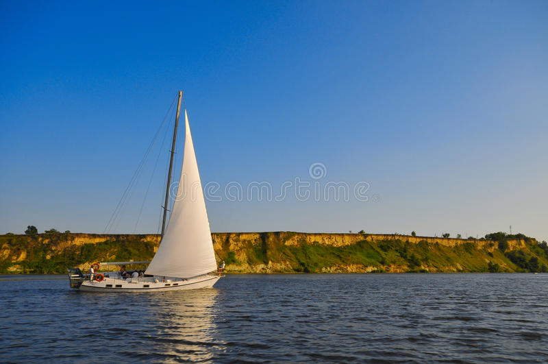 Yacht on river royalty free stock images