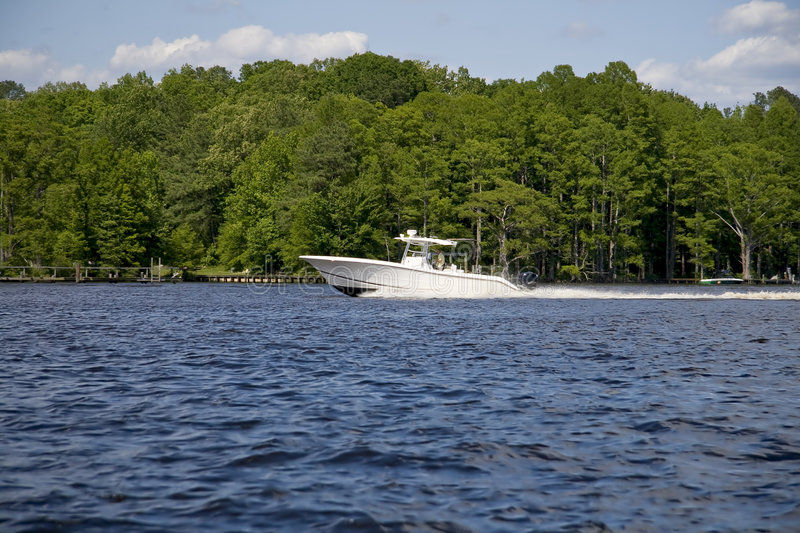 Yacht in river royalty free stock photo