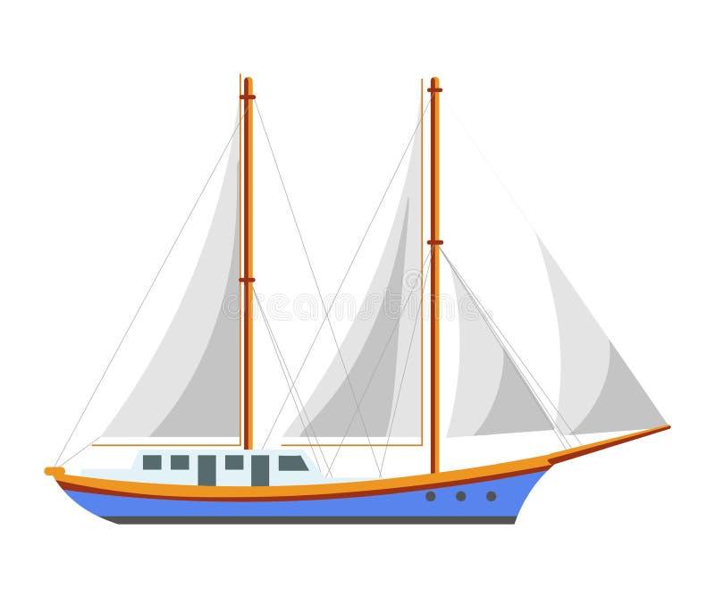 Yacht sailboat or sailing frigate ship sea cruise boat vector flat icon stock illustration