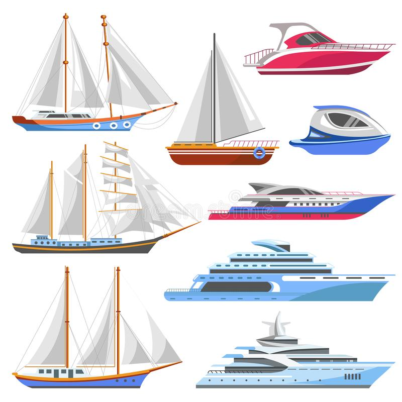 Yacht sailboat or sailing ship and sea marine cruise boat vector flat icons vector illustration