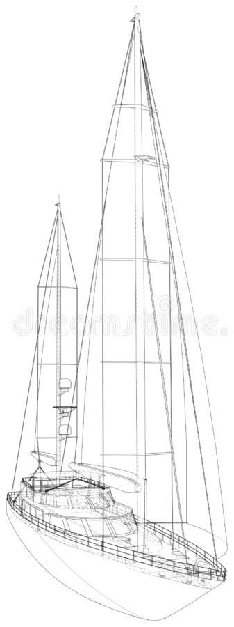 Yacht sailboat or sailing ship wire-frame. Vector illustration. Tracing illustration of 3d vector illustration