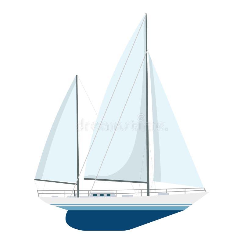 Yacht sailboat or sailing ship, royalty free illustration