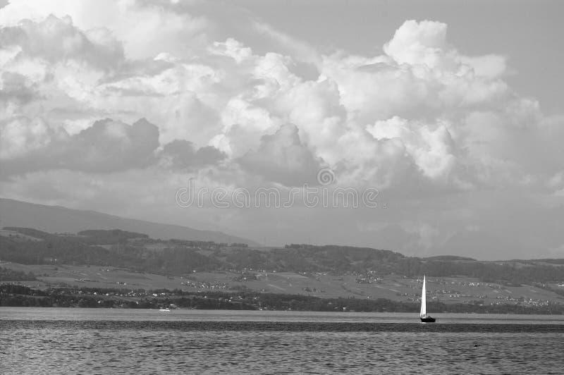 Yacht sailing on Lake Geneva royalty free stock photo