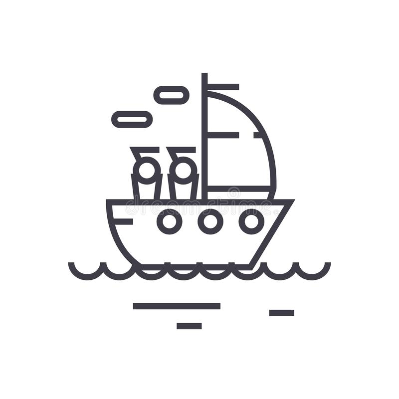 Yacht sailing linear icon, sign, symbol, vector on isolated background vector illustration