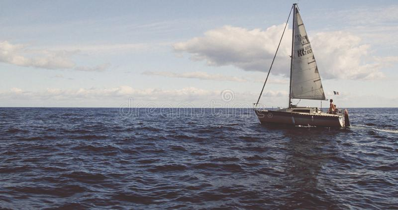 Yacht sailing in the Mediterranean stock images