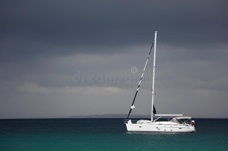 A yacht sailing in Mediterranean Sea stock photography