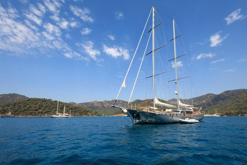 A yacht sailing in Mediterranean Sea royalty free stock photos