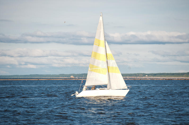 Yacht sailing in sea royalty free stock image