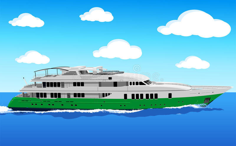 Yacht at sea stock illustration