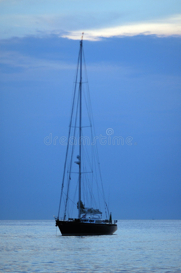 Yacht at sea royalty free stock images