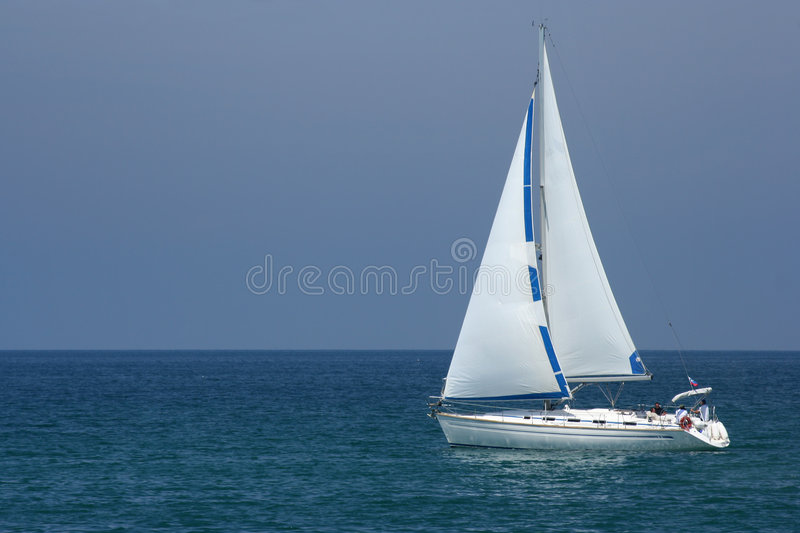 Yacht at sea royalty free stock photo