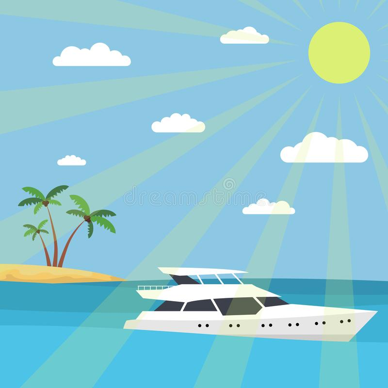 A yacht in the sea against the backdrop of an island with palm trees. The rays of the sun and clouds in the sky. Flat style. stock illustration