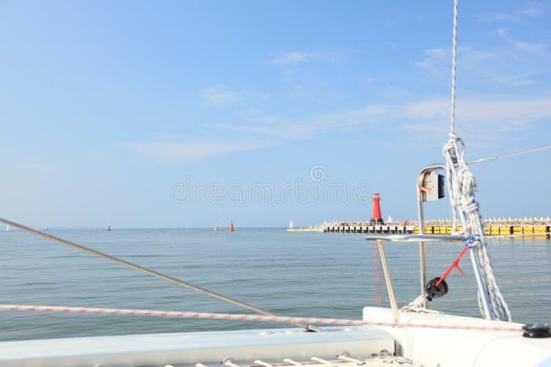Yacht Sea Baltic Lighthouse In Gdansk, Poland Stock Photos