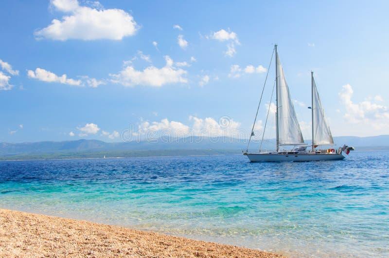 Yacht on the sea stock photos