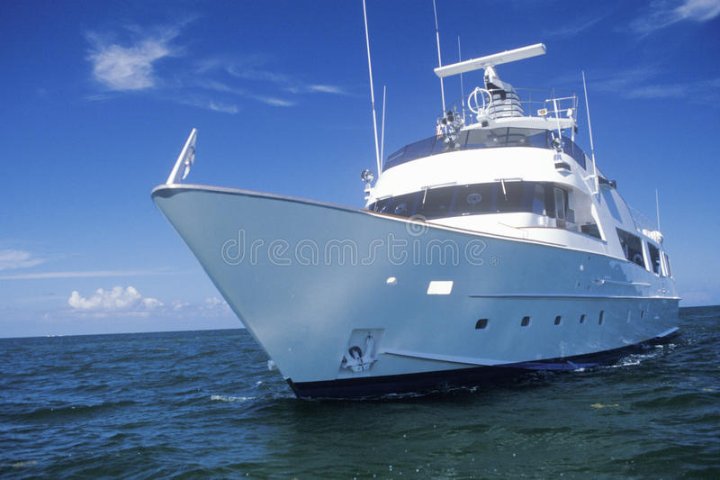 A yacht at sea in Miami, Florida royalty free stock image