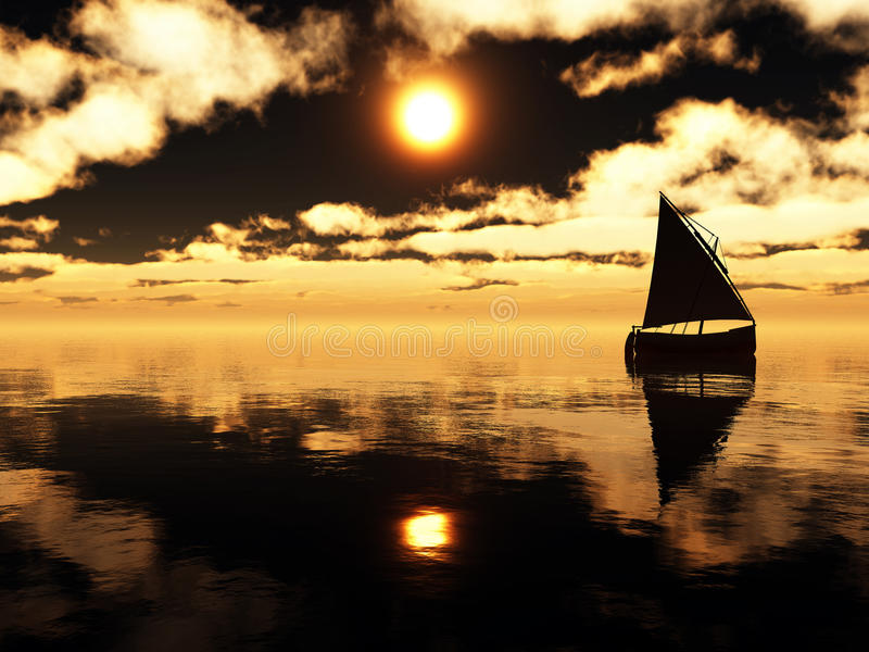 Yacht In The Sea At Sunset Royalty Free Stock Photo